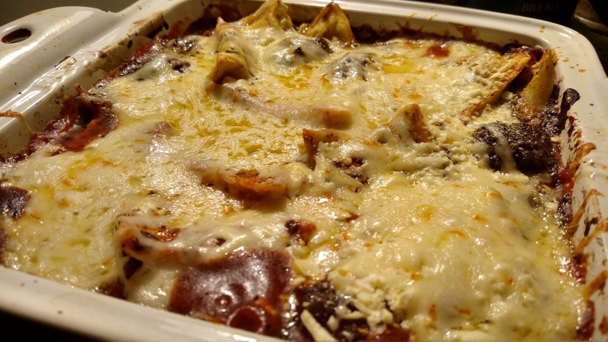 easy bake ravioli in baking dish hot from oven