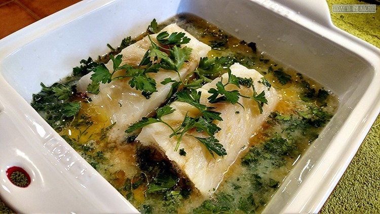 Marinating cod in butter and white wine sauce