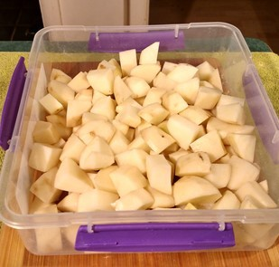 yukon gold potatoes cut in bite size chunks.