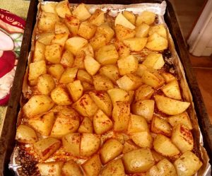 roasted potatoes on a baking tray