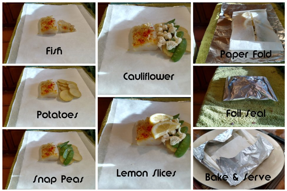 step by step pictures of en papillote cooking method