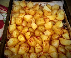 tray of spicy roasted potatoes