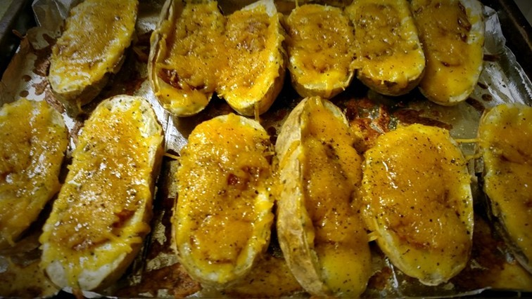 Ultimate twice baked potatoes hot out of the oven