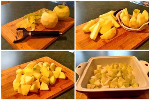 3 ingredient Apple Crisp preparing apples instructions