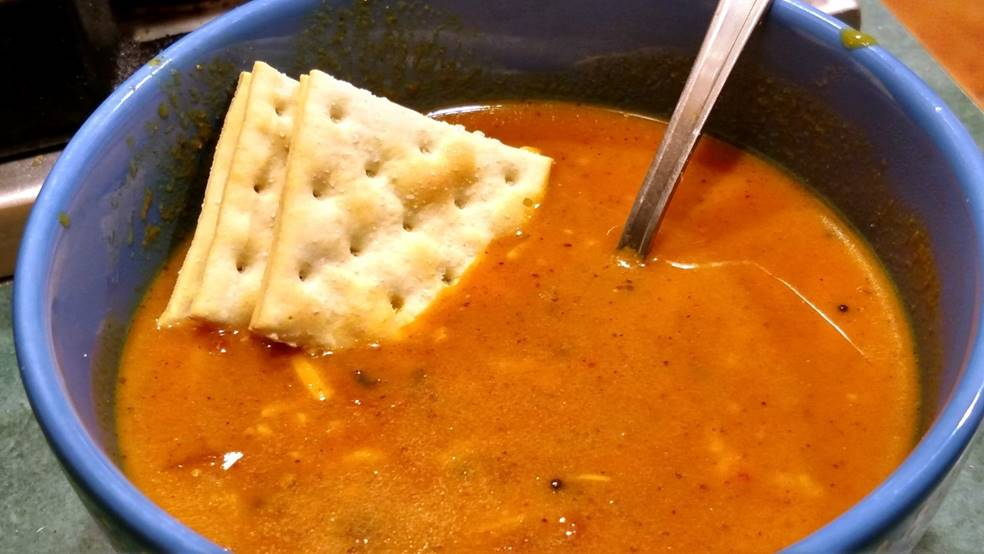 Homemade Tomato Soup in a bowl with crackers