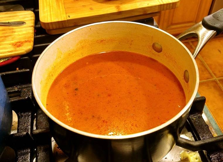 Creamy Homemade Tomato Soup in pan