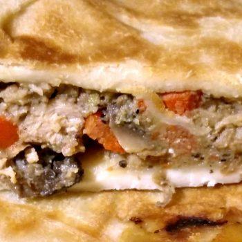 slice of homemade pot pie tuna recipe closeup photo