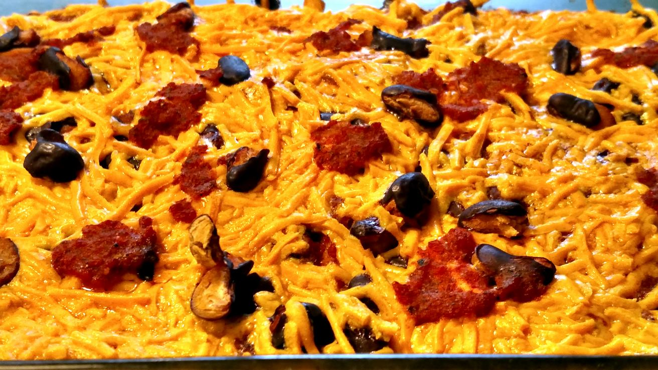vegan mexican casserole hot of the oven feature photo
