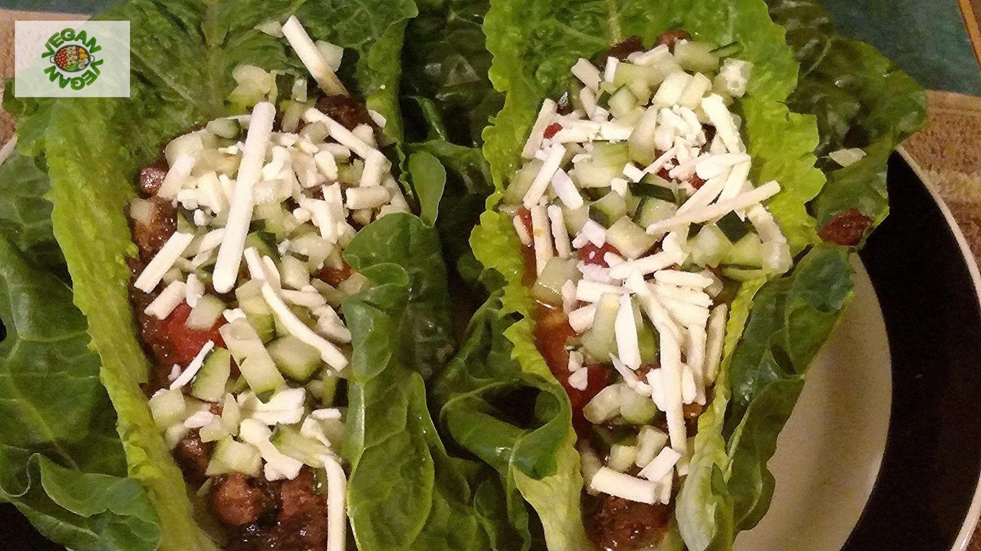 Vegan tacos recipe in lettuce wraps feature photo. 100% vegan. 100% healthy. 100% delicious.