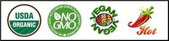Organic Non-GMO Vegan Spicy Hot label