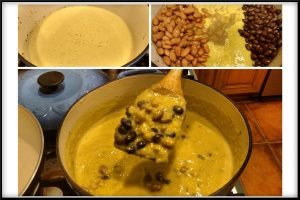vegan corn chowder soup - add the beans and simmer